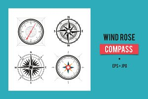 Vintage wind rose compasses set