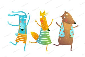 Animals Rabbit Fox Bear Dancing