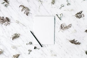 Blank paper on marble background