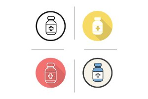 Pills bottle. 4 icons. Vector