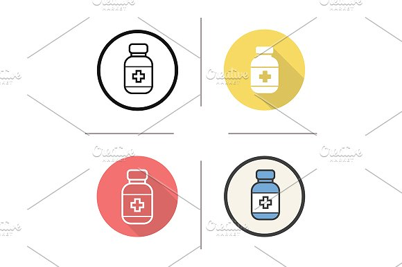 Pills bottle. 4 icons. Vector - Icons