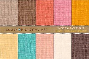 Digital Paper-Linen-Choco. Elephant