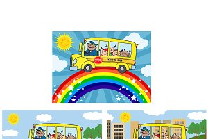 School Bus With Children. Collection