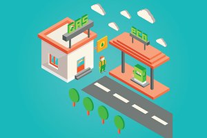 isometric 3d gas station