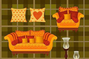 Set of furniture in the autumn style