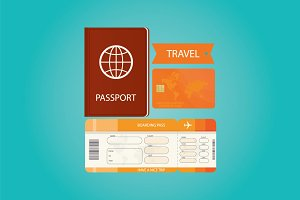 Passport with tickets and card