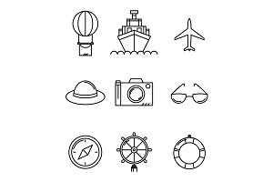 Travel and vacation vector icons set