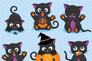 Scaredy Cats Halloween Clipart