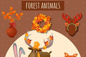 Forest animals in warm clothes