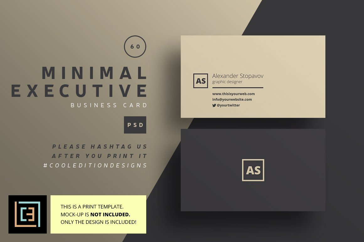Minimal executive business card 60 business card templates minimal executive business card 60 business card templates creative market reheart Images