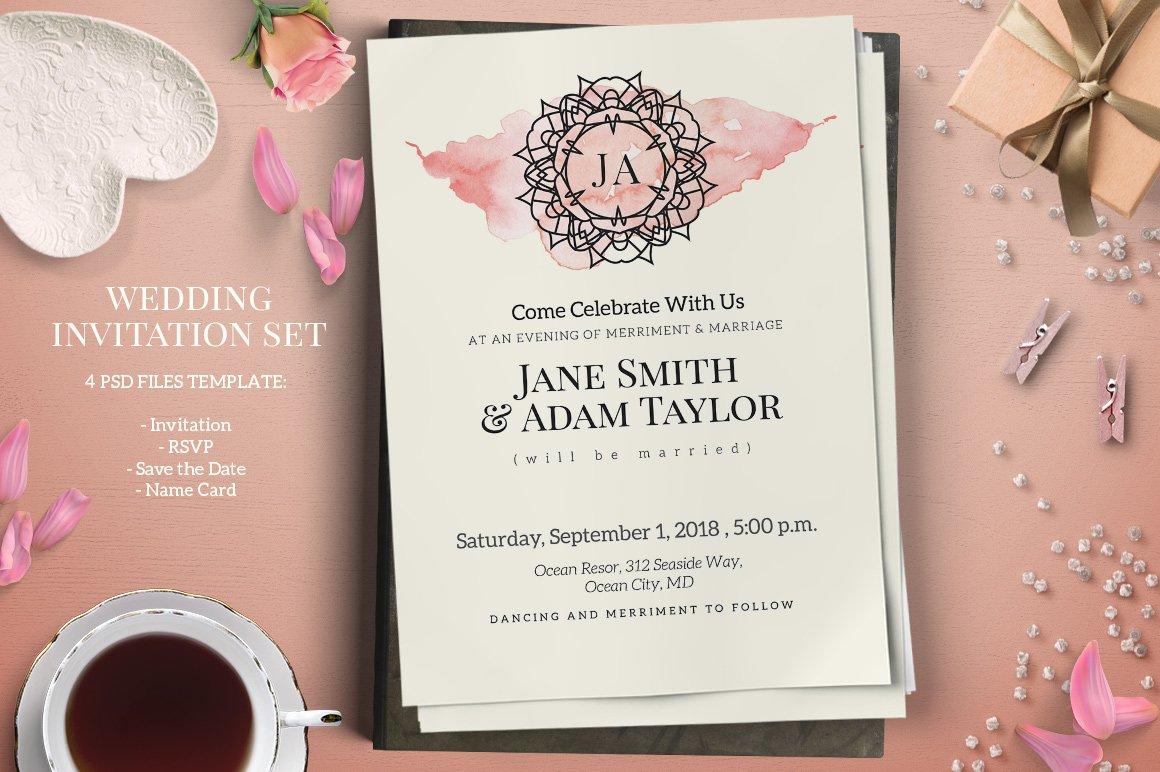 Monogram Wedding Invitation Set ~ Invitation Templates ~ Creative Market