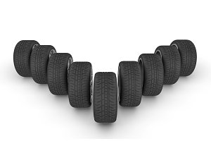 The wheels of a car 3D render