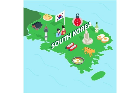 South Korea map, isometric 3d style