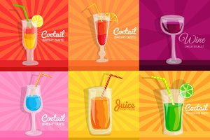 colorful coctail vector illustration