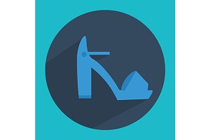 Woman high block heel shoe icon