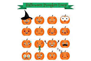 Halloween pumpkin vector icons,emoji
