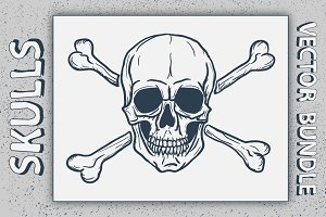 Vector Set of Skulls with Crossbones