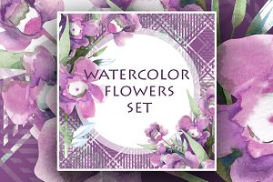 Watercolor pink flowers bundle