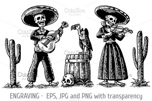 Day Dead skeleton play guitar violin