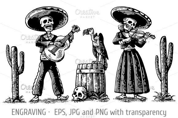 Day Dead skeleton play guitar violin ~ Illustrations