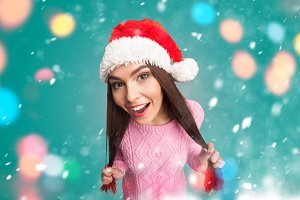 model  in red christmas hat