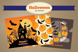 Halloween greeting cards and pattern