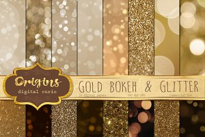 Gold Bokeh and Glitter Backgrounds