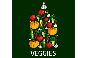 Healthy vegetables in a shape