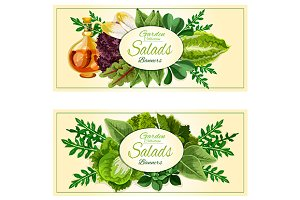 Salad greens and vegetables banners