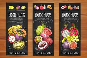 Exotic tropical fruits banners