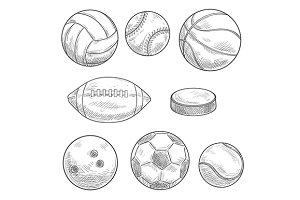 Sporting balls and puck sketches