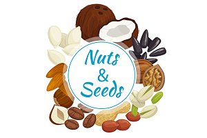 Nuts, seeds and beans round banner