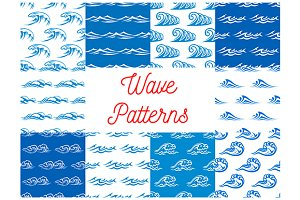 Blue waves seamless pattern