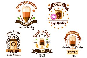 Coffee drinks badges and icons