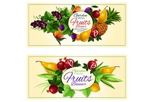 Sweet summer fruits banners