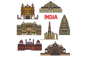 Travel landmarks icons of India
