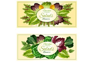 Veggies and salads banners