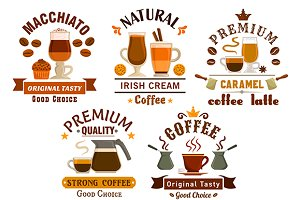 Cafe and coffee shop badges