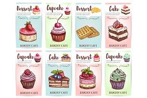 Cake, cupcake, muffin and waffle