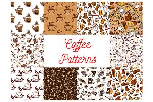 Coffee drinks seamless patterns set