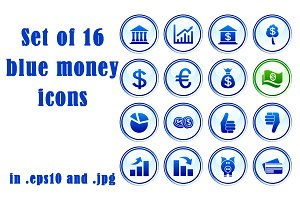 Set of 16 blue money icons