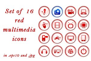 Set of 16 red multimedia icons