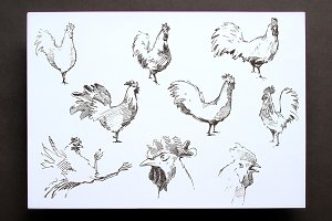 Set of hand drawn roosters