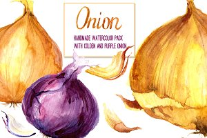 Layered watercolor onions set