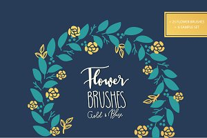 Flower brushes and decorate BLUE