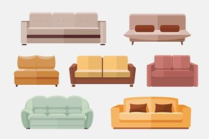 Sofa and couches furniture icons