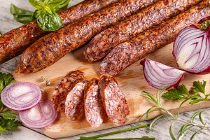 Slices of salami sausage