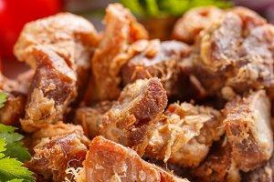 Salty pork greaves