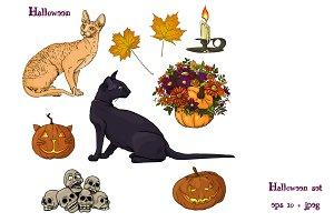 Halloween set cats
