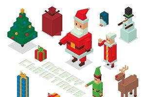 Christmas 3d pixel art vector